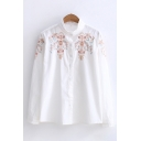 Ethnic Long Sleeve Stand Collar Button Down Floral Embroidery Relaxed Fit Shirt for Women