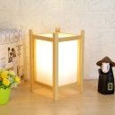 Japanese Rectangle Small Desk Lamp Wood 1 Bulb Task Lighting in Beige for Dining Room