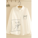 Stylish White Long Sleeve Lapel Collar Button Down Cartoon Cat Pattern Pocket Panel Relaxed Shirt for Girls