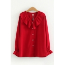 Lovely Girls' Long Sleeve Peter Pan Collar Ruffled Trim Button Down Plain Relaxed Fit Shirt