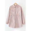 Leisure Girls' Long Sleeve Lapel Neck Button Down Striped Pockets Side Loose Fit Shirt