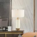 Straight Sided Shade Task Lighting Modern Fabric 1 Head Small Desk Lamp in White