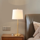 Shaded Table Lamp Modernist Fabric 1 Bulb Reading Book Light in White with Metal Base