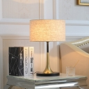1 Bulb Drum Task Lighting Contemporary Fabric Nightstand Lamp in Flaxen for Bedside