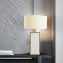 Straight Sided Shade Reading Light Modern Fabric 1 Bulb Night Table Lamp in White