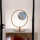 Closed Glass Spherical Nightstand Lamp Modernist 1 Bulb Reading Book Light in Gold