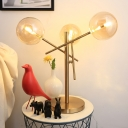 Amber Glass Round Task Lighting Modernism LED Reading Lamp in Gold with Metal Base