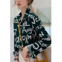 Chic Popular Women's Long Sleeve Lapel Neck Button Down All Over Letter Relaxed Fit Shirt