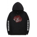 Popular Men's Long Sleeve Drawstring Rose Print Letter Graphic Pouch Pocket Hoodie