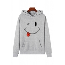 Casual Long Sleeve Funny Face Patterned Kangaroo Pocket Relaxed Fit Hoodie for Women