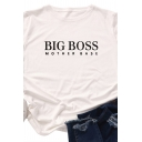 Simple Fashion Girls Roll-Up Sleeve Crew Neck Letter BIG BOSS Printed Relaxed Fit Tee Top