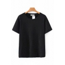Basic Girls Short Sleeve Round Neck Solid Color Relaxed Fit T-Shirt
