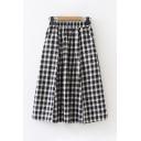 Casual Nice Girls Elastic Waist Checker Printed Long A-Line Skirt in Navy