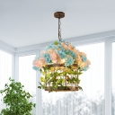 Brass 1 Light Ceiling Pendant Retro Metal Bird Cage LED Drop Lamp with Flower for Restaurant