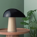 Metal Curved Task Lighting Modernist LED Black Reading Book Light with Tapered Wood Base