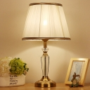 Flare Fabric Desk Light Modern 1 Head White Table Lamp with Brass Carved Metal Base