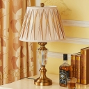 1 Bulb Tapered Task Lighting Modern Beveled Crystal Nightstand Lamp in Light Brown