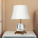 Modernist 1 Bulb Desk Light White Paneled Bell Night Table Lamp with Fabric Shade