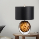 Contemporary 1 Bulb Nightstand Lamp Black Drum Reading Book Light with Fabric Shade