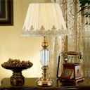 Fabric Pleated Table Light Modernism 1 Head Beige Small Desk Lamp with Metal Base