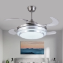 LED Cascaded Semi Flush Lighting Modern Silver Metal 4 Blades Hanging Fan Lamp with Wall/Remote Control, 36