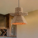 Industrial Urn Pendant Lighting 1 Light Rope Hanging Ceiling Lamp in Beige with Hand-Woven Design