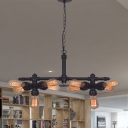 10 Bulbs Iron Ceiling Chandelier Vintage Black Radial Pipe Living Room Suspended Pendant Light
