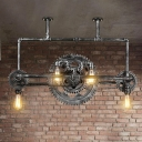 Industrial Water Pipe Island Pendant Light 6 Heads Iron Hanging Ceiling Lamp in Black with Gear Deco
