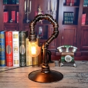 Rust Finish 1 Head Table Lamp Antiqued Metallic Hook Shape Small Desk Light for Bar