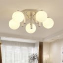 5-Light Living Room Semi Flush Lamp Modernist White/Black Ceiling Mount Fixture with Sphere Milk Glass Shade
