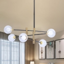 Modern 6-Light Linear Hanging Lighting with Clear Glass Shade Brass Globe Chandelier Pendant Lamp