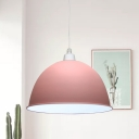 Pink/Grey Dome Ceiling Pendant Lamp Modern Nordic Style 1 Bulb Metal Down Lighting over Dining Table