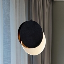 Metal Round Hanging Lamp Modern LED Ceiling Pendant Light in Black with New-Moon Design