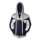 Cool Fashionable Mens Long Sleeve Drawstring Zip Up Colorblocked Comic Cosplay 3D Pattern Relaxed Hoodie in Navy