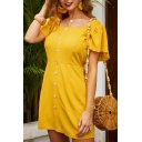 Casual Trendy Womens Short Sleeve Square Neck Ruffle Trimmed Button Down Short A-Line Dress in Yellow
