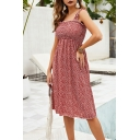 Pretty Girls Sleeveless All Over Floral Printed Stringy Selvedge Mid Pleated A-Line Tank Dress in Red