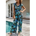 Fancy Ladies Short Sleeve V-Neck All Over Floral Printed Bow Tied Waist Long Wide Leg Jumpsuit