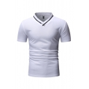 Basic Guys Short Sleeve V-Neck Contrasted Pipe Slim Fitted T Shirt