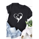 Hot Sale Roll Up Sleeve Crew Neck Heart Cat Printed Relaxed Fit T Shirt for Women
