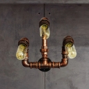 Arc Arm Corridor Wall Lighting Fixture Antiqued Iron 3-Light Rust Wall Sconce Lamp