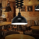 Black 1 Bulb Down Lighting Antiqued Iron Dome Pendant Lamp Fixture with Telescopic Rod