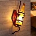 Copper 1-Bulb Wall Mount Light Art Deco Yellow Glass Bottle Wall Sconce Lamp with Wine Rack Backplate