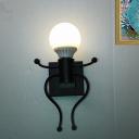 1/2-Bulb Human-Shape Wall Lighting Art Deco Black/White Metal Wall Mount Sconce for Bedside