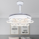 Circular Living Room Pendant Fan Light Acrylic 21.5