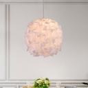 Blossom Bedroom Hanging Lighting Acrylic 1-Head Modernist Ceiling Pendant Lamp in White
