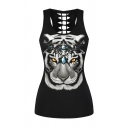 Cute Black Sleeveless Letter RAWR Cat Tiger Graphic Hollow Out Back Loose Fit Tank Top