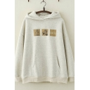 Korean Style Long Sleeve Letter HELLO Bear Graphic Pouch Pocket Relaxed Fit Hoodie