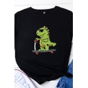 Simple Womens Roll Up Sleeve Round Neck Dinosaur Printed Relaxed T Shirt