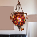 Copper Urn Hanging Light Tradition Metal 1 Bulb Pendant Lighting Fixture with Amber Crystal Teardrop