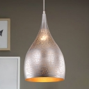 1 Bulb Teardrop Pendant Light Fixture Arabian Black/Silver/Brass Metal Hanging Lamp for Restaurant